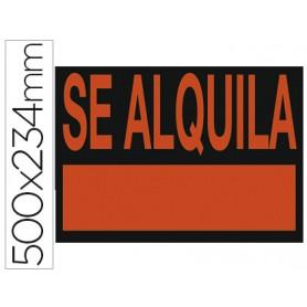 "CARTEL PLASTICO ""SE ALQUILA"" ROJO FLUORES. 500X234 MM"