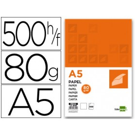 PAPEL LIDERPAPEL A-5 80GRS. PAQ.500H.LISO BLANCO